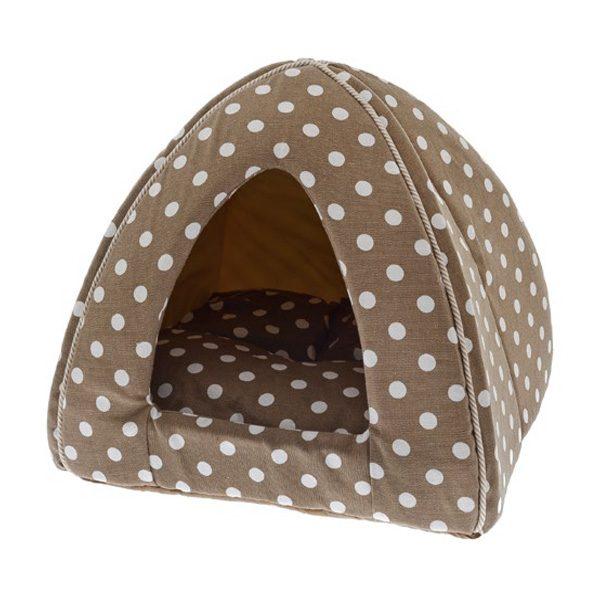 ferribiella igloo canvas pois beidge 40 40 35cm cane gatto