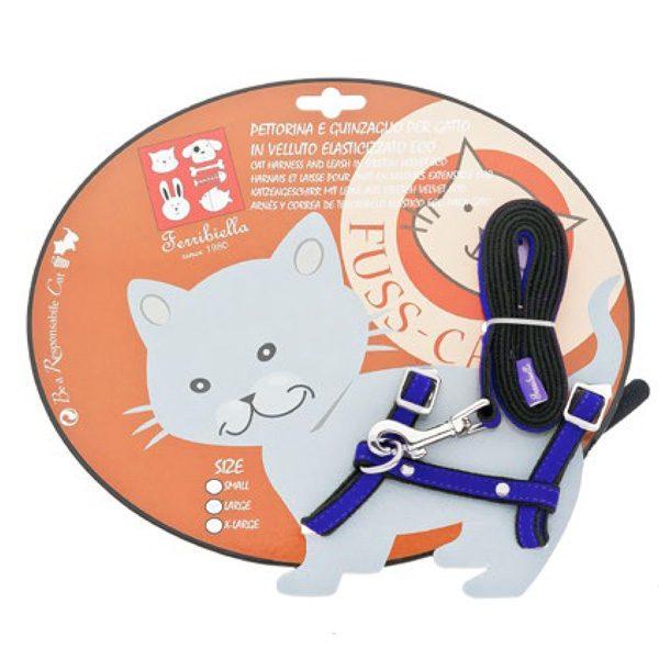 ferribiella pettorina guinzaglio elasticizzato small blu gatto