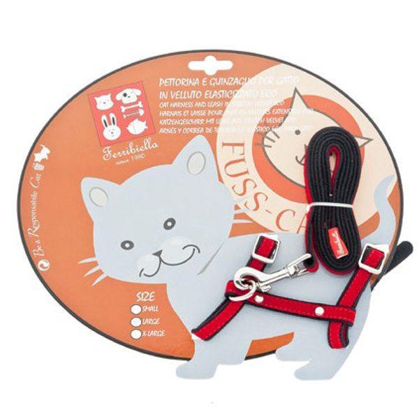 ferribiella pettorina guinzaglio elasticizzato small rosso gatto