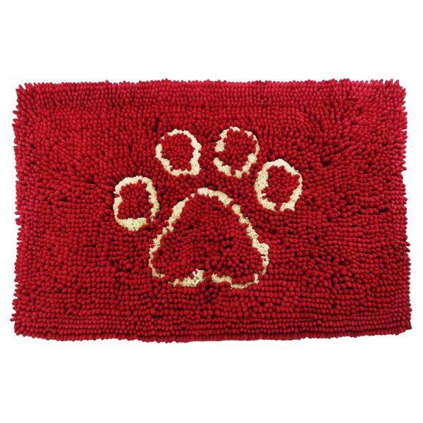 Tappeto per cani e gatti rosso con stampa zampa 50x80cm